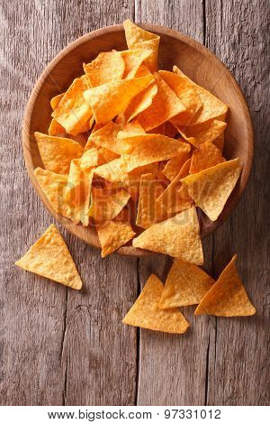 Nachos Corn Chips In The Bowl On The Table. Vertical View Above