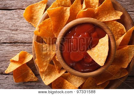 Corn Nachos With Sauce On A Plate Close-up. Horizontal Top View