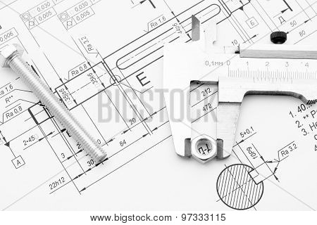 Bolt, Nut And Caliper On The Drawing