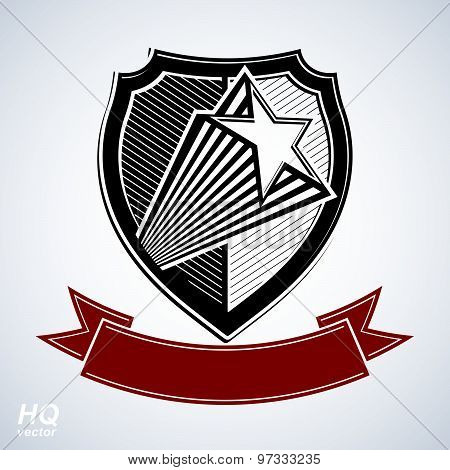 Vector shield with pentagonal comet star and decorative curvy band, protection heraldic symbol