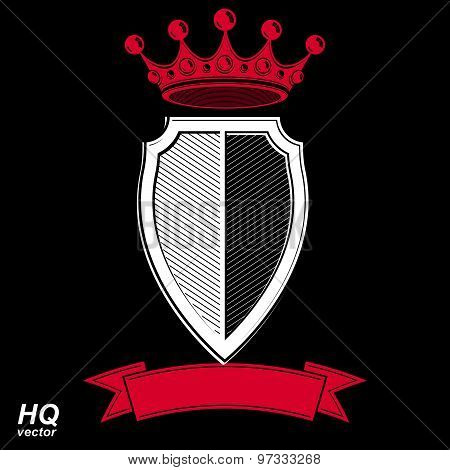 Empire design element. Heraldic royal coronet illustration, imperial striped decorative coat of arms