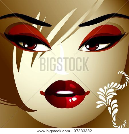 Emotional expression on the face of cute girl.  Angry woman with modern makeup and stylish hairdo