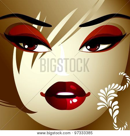 Emotional expression on the face of cute girl. Beautiful happy smiling woman with modern makeup