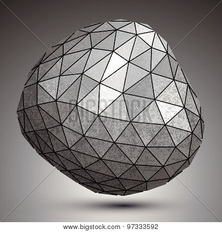 Deformed metallic object created from triangles, spatial geometrical element.