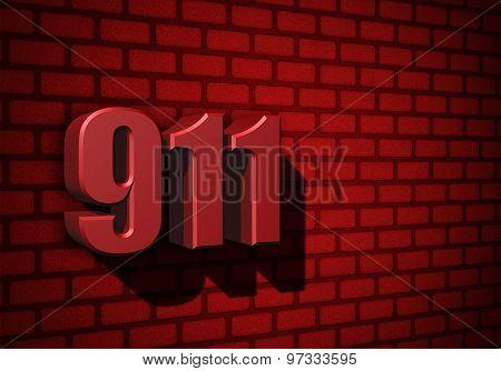 911 Emergency Number On Dark Wall