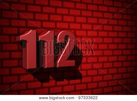 112 Emergency Number On Dark Wall