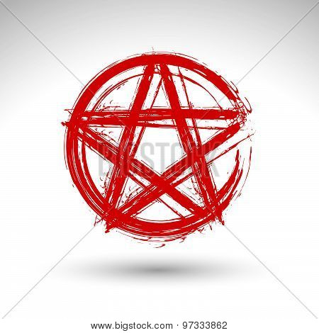 Hand drawn pentagram icon, brush drawing red magic polygonal star, hand-painted pentagram symbol