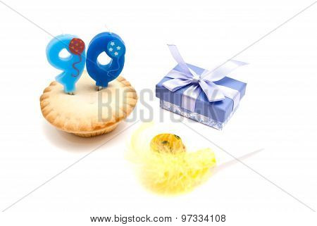 Cupcake With Ninety Years Birthday Candle, Gift And Whistle