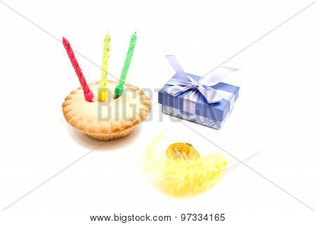 Cupcake With Three Birthday Candles, Gift And Whistle