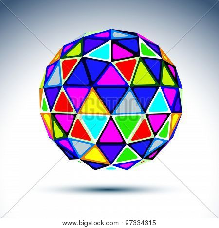 Vector three-dimensional modern abstract object, 3d disco ball. Psychedelic rich globe