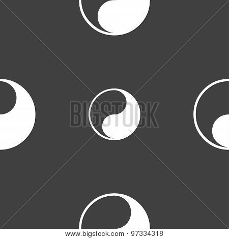 Yin Yang Icon Sign. Seamless Pattern On A Gray Background. Vector