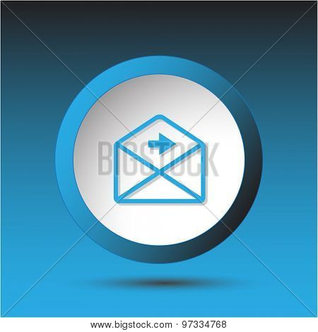 mail right arrow. Plastic button. Vector illustration.