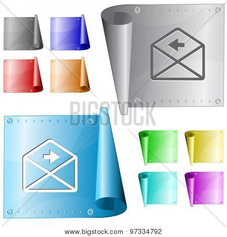 mail right arrow. Vector metal surface.