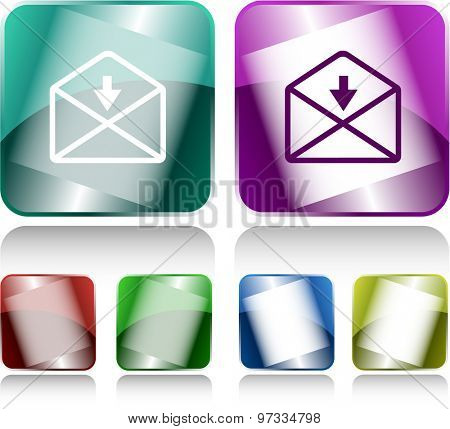 mail downarrow. Internet buttons. Vector illustration.
