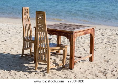 Table And Chairs With A Beautiful Sea View On Island Koh Chang, Thailand.