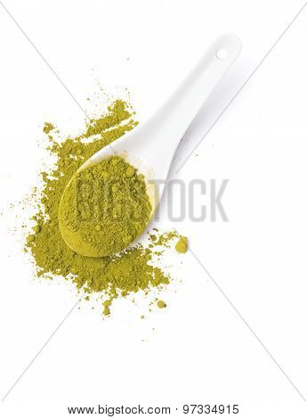 Matcha Tea In A Spoon Isolated On White Background