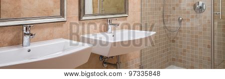 Two Washbasins And Shower