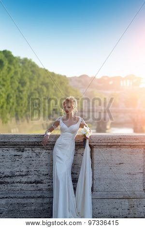 Young Bride On Bridge