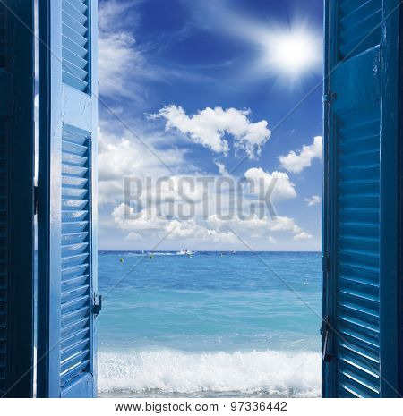 room with open door  to seascape