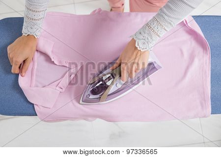 Female Hand Ironing Cloth