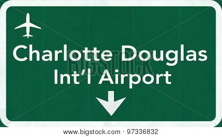 Charlotte Douglas Usa International Airport Highway Road Sign