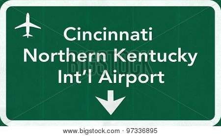 Cincinnati Northern Kentucky Usa International Airport Highway Road Sign