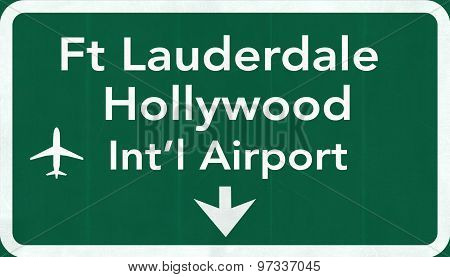 Fort Lauderdale Hollywood Usa International Airport Highway Road Sign