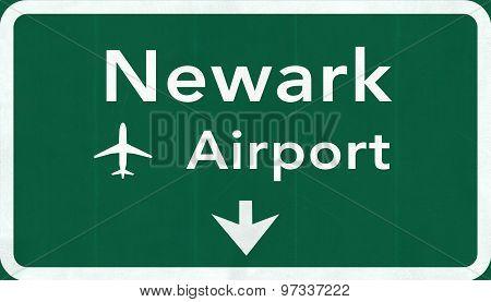 New Jersey Newark Liberty Usa International Airport Highway Road Sign