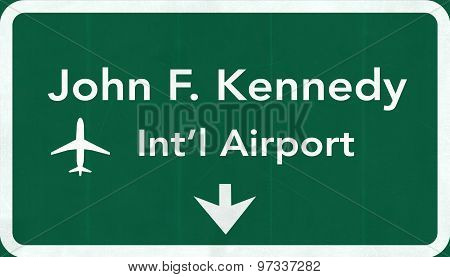 New York John Fitzgerald Kennedy Jfk Usa International Airport Highway Road Sign