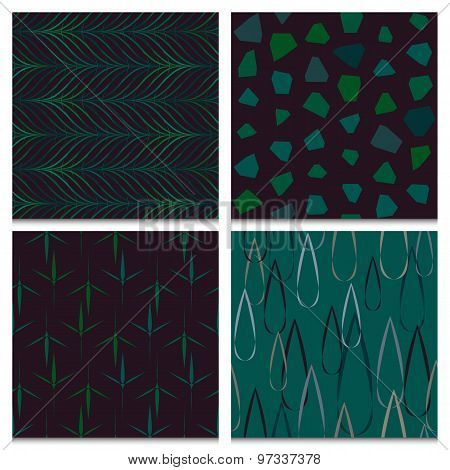 Set Of Four Green And Brown Forest Seamless Patterns