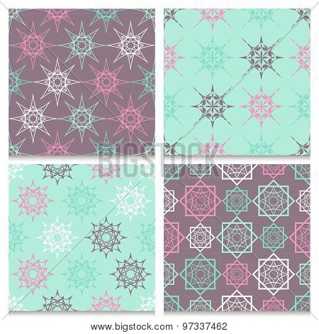 Set Of Four Mint Blue And Brown Seamless Patterns With Elegant Geometric Peaked Elements