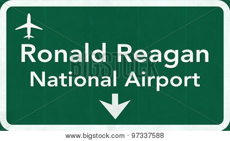 Washington Dc Ronald Reagan Usa Airport Highway Road Sign 2D Illustration