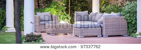 Wicker Furniture On Patio