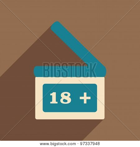 Flat with shadow icon and mobile application clapperboard