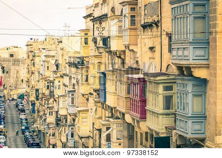 Typical Buildings And Balconies In La Valletta Capital Of Mediterranean Island Of Malta