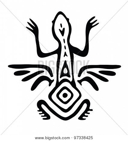 winged lizard, animal in native style, vector illustration