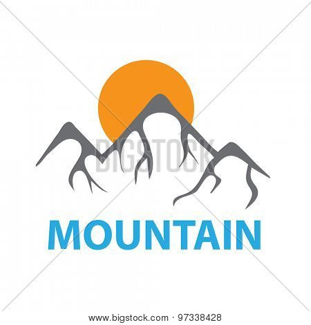 Mountain landscape and sun, vector logo illustration