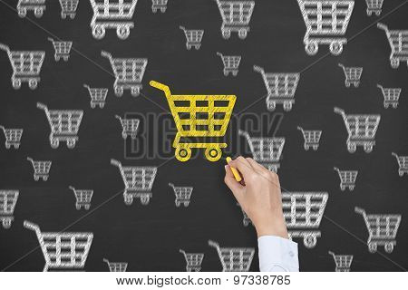 Shopping Cart Concept Drawing on Blackboard