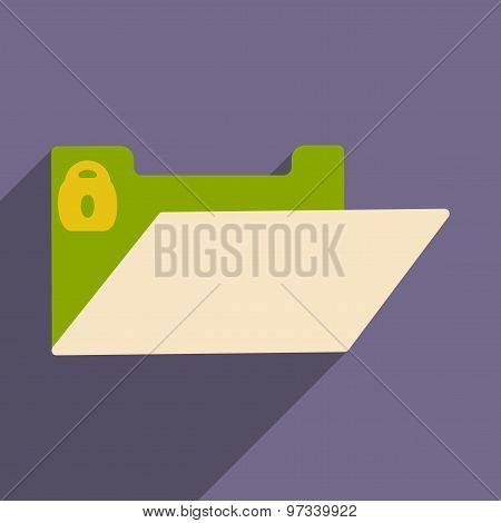 Flat with shadow icon and mobile application file folder block