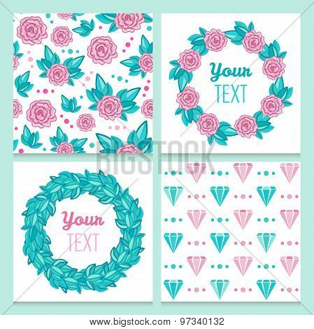 Lovely vintage romantic floral set with roses and diamonds of seamless patterns and frames