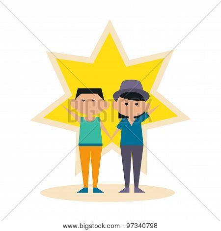 Flat with shadow icon and mobile application best friends