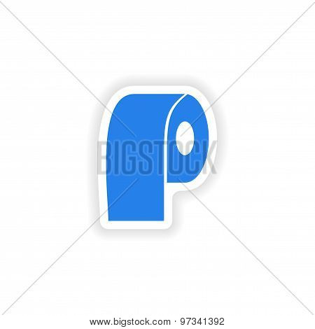 icon sticker realistic design on paper lavatory roll
