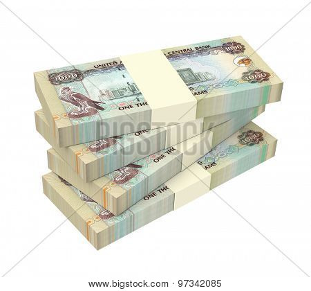 United Arab Emirates dirhams bills isolated on white background. Computer generated 3D photo rendering.