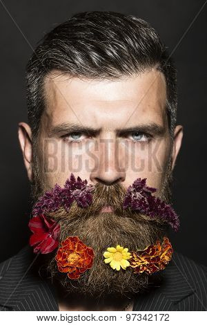 Man With Flowers On Head