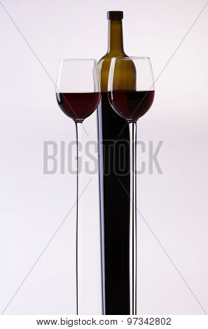 Stretched Wine Bottle And Glasses