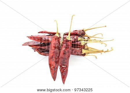 Dried Chili Peppers On White Background