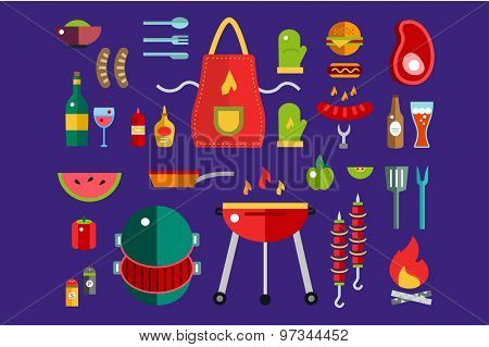 BBQ and Food Icons Vector Set. Outdoor, kitchen, meat and grill, burger, eat food symbols. Stock design elements. Key ideas is outdoor food, barbecue party, black icons, logo elements