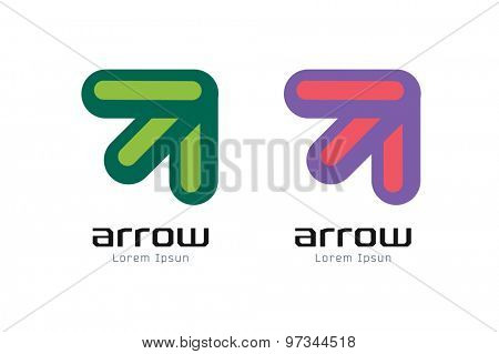 Vector arrow abstract logo template. Up, cursor icon, creative idea, arrowheads marker and dynamic or moving. Company identity. Stock illustration