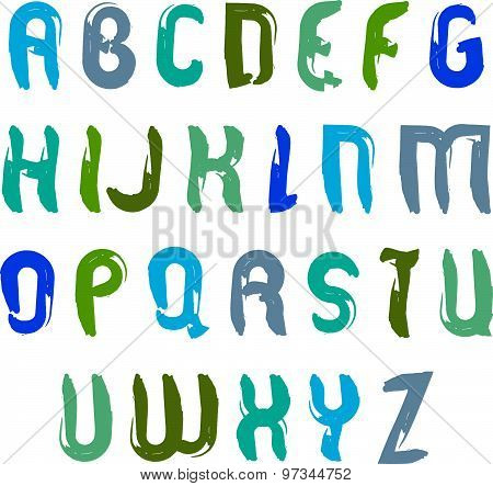 Vector hand-painted multicolored capital letters isolated on white background, uppercase art script