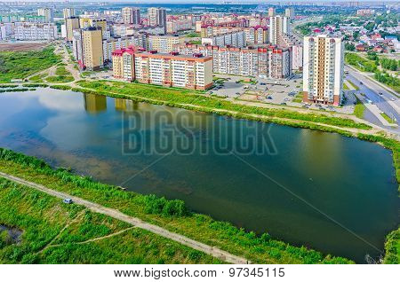 Bird eye view on Tura neighborhood. Tyumen. Russia
